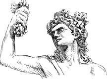 Dionysus. Vector drawing of god of winemaking of Dionysus stock illustration
