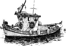Fishing boat. Vector drawing of the Greek fishing boat stock illustration