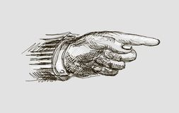 Vector drawing hand with the index finger Stock Photos