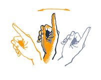Vector drawing hand with index finger pointing up. Vector drawing hand with index finger pointing up Stock Photo