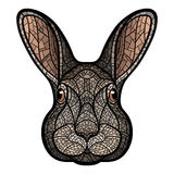 Vector drawing head of a rabbit, hare Stock Photography