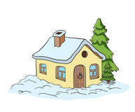 Vector drawing of a house. Coloring for kids Stock Image