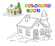 Vector drawing of a house. Coloring for kids Stock Images