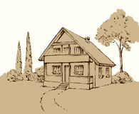 Vector drawing. House Royalty Free Stock Images