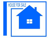 Vector drawing of a house for sale logo. royalty free illustration