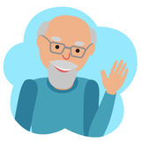 Vector drawing of icon elderly man in the cloud, waving his hand. Royalty Free Stock Photo
