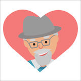 Vector drawing of icon elderly man in the pink heart Stock Photos