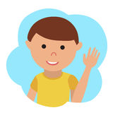 Vector drawing of icon little boy in the cloud, waving his hand. Stock Images