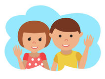 Vector drawing of icon little boy and girl in the cloud, waving his hand. Stock Photography