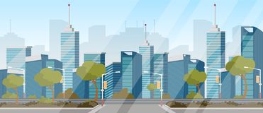 Vector drawing image highway background of city royalty free illustration