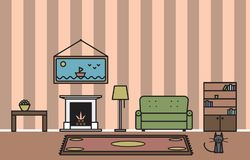 Interior of a living room with a fireplace and cat. Vector drawing of an interior of a living room in soft tones with a fireplace, a sofa, a picture, a cat, a Royalty Free Stock Photos
