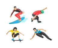 Vector drawing jumping and climbing men extreme athletes silhouettes. Royalty Free Stock Image