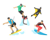 Vector drawing jumping extremesilhouettes illustration life skateboard set speed skydiver skateboarder roller skate Royalty Free Stock Images