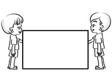 Vector drawing kids holding blank card Royalty Free Stock Images