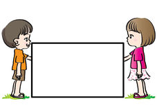 Vector drawing kids holding blank card Stock Photos