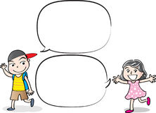 Vector drawing kids talk with speech bubble. Vector drawing kids talk with blank speech bubble Stock Photos