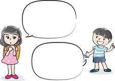 Vector drawing kids talk with speech bubble. Vector drawing kids talk with blank speech bubble Royalty Free Stock Photography