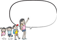 Vector drawing kids talk with speech bubble Stock Photo