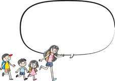 Vector drawing kids talk with speech bubble Stock Photography