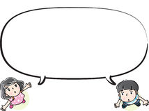 Vector drawing kids talk with speech bubble Stock Photos