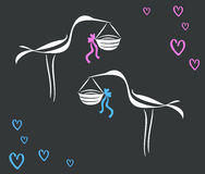 Vector drawing line curve stork brought a newborn baby Royalty Free Stock Photography