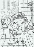 Vector drawing of a little girl with her cat in a bathroom. A vector image of one little girl bathing her cat vector illustration