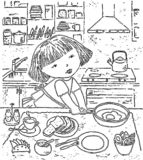 Vector drawing of a little girl preparing a breakfast. Vector image of a little independent girl in the kitchen stock illustration