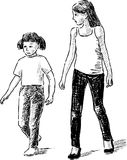 Sketch of two strolling small sisters Royalty Free Stock Photo