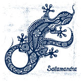 Vector drawing of a lizard or salamander. With ethnic patterns of Aboriginal Australia. On the grange background. Image salamandy as a tattoo vector illustration