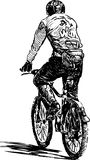 Biker. Vector drawing of a man riding a bicycle stock illustration