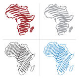 Vector drawing map of africa Royalty Free Stock Images