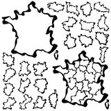 Vector drawing map of France Royalty Free Stock Photo