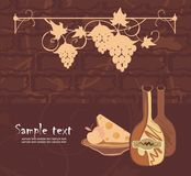 Vector drawing of menu template with wine. Vector drawing of the wine? cheese? apple and wine-grape in old-fashioned style Royalty Free Stock Photo