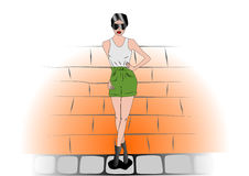 Vector Drawing model wearing a sleeveless T-shirt and shorts Royalty Free Stock Photo