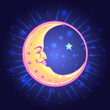 Vector drawing of the Moon with human face over night sky backgr Stock Photo