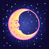 Vector drawing of the Moon with human face over night sky backgr Royalty Free Stock Images