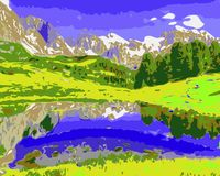 Vector drawing Mountains forest lake. vector illustration