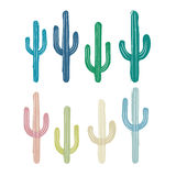 Vector drawing of multicolored cactus. Illustration simulates the handmade. Vector seamless background with nut in white on background beige. Ready for printing vector illustration
