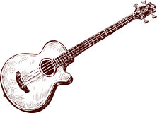 Acoustic guitar. Vector drawing of an old acoustic guitar stock illustration