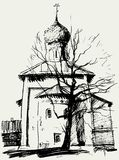 Church and a tree. Vector drawing of the old Cathedral in Tsarskoye Selo near St. Petersburg, Russia vector illustration