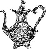 Antique coffee pot. Vector drawing of an old coffee pot royalty free illustration