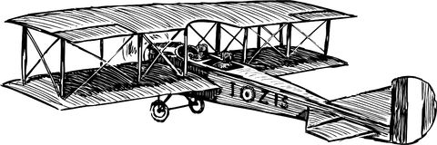 Airplane. Vector drawing of the old flying airplane vector illustration