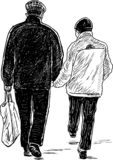 Sketch of elderly couple going shopping royalty free stock photos