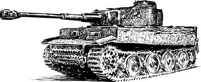 Fighting vehicle. Vector drawing of an old tank royalty free illustration