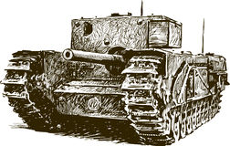 Fighting machine. Vector drawing of an old tank vector illustration