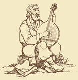Vector drawing. Old Ukrainian musician plays the b. Vector monochrome image handmade style drawing pen on paper. Old Ukrainian musician with a beard in national Stock Image