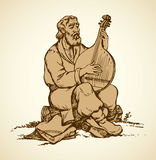 Vector drawing. Old Ukrainian musician plays the bandura Stock Image