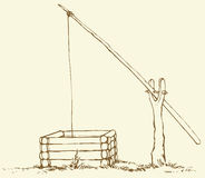 Vector drawing. Old wooden shadoof in the field. Vector monochrome drawing of a shading ink on paper. Old wooden well in the field. Water pump shadoof with Stock Photography