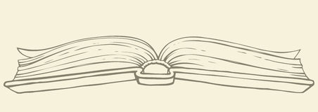 Vector drawing. Open book in hardcover vector illustration