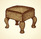 Vector drawing. Ottoman on curved legs Stock Images